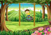 stock photo of tire swing  - Illustration of a young boy playing with the tire swing - JPG