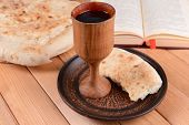 picture of covenant  - Cup of wine and bread on table close - JPG