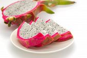 picture of dragon fruit  - Dragon fruit and slice isolated on white background - JPG