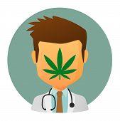 stock photo of ganja  - Illustration of an isolated avatar with a marijuana leaf - JPG