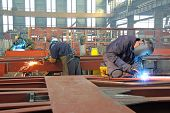 foto of welding  - Steel workers welding  - JPG