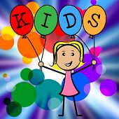 image of youngster  - Kids Balloons Indicating Young Woman And Youngster - JPG