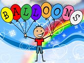 stock photo of youngster  - Balloons Boy Indicating Child Celebration And Youngster - JPG