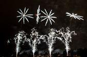 foto of pendulum  - The explosion of beautifully white fireworks with Prague Pendulum - JPG