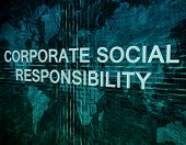 stock photo of responsible  - Corporate Social Responsibility text concept on green digital world map background - JPG