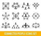 picture of hierarchy  - Connected people social network human hierarchy black icons set isolated vector illustration - JPG