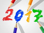 stock photo of youngster  - Twenty Seventeen Representing New Year And Youngster - JPG