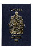 stock photo of passport cover  - Close up of Canadian biometric Passport AKA ePassport newly designed in July 2013 isolated on white - JPG
