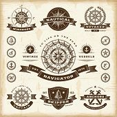 foto of wind wheel  - Vintage nautical labels set - JPG