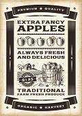 stock photo of barn house  - Vintage apple harvest poster - JPG