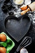 image of bum  - baking background with raw eggs - JPG