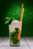 foto of mojito  - Mojito glass of water with lime ice and mint - JPG