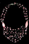 picture of obsidian  - Necklace with Pink and Black Stones - JPG