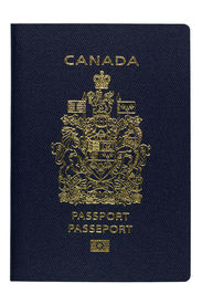 image of passport cover  - Close up of Canadian biometric Passport AKA ePassport newly designed in July 2013 isolated on white - JPG