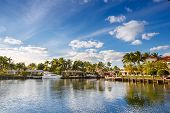 stock photo of yachts  - Luxurious yacht and waterfront homes in Fort Lauderdale - JPG