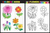 picture of sketch book  - Coloring book page for pre school childern with colorful flowers and sketches to color - JPG