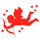 stock photo of cupid  - Silhouette of a red cupid with bow and arrow and hearts illustration isolated on white background - JPG