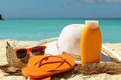picture of caribbean  - sun protection items on the caribbean beach  - JPG