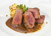 foto of mashed potatoes  - Grilled Sirloin with pepper sauce and mashed potatoes - JPG