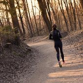 foto of natural blonde  - Lady running in the forest - JPG