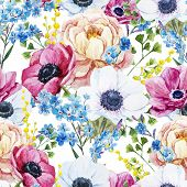 pic of pattern  - Beautiful vector pattern with watercolor anemones flowers - JPG