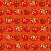 Постер, плакат: Red Seamless Pattern With Tomatoes