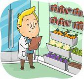 stock photo of sanitation  - Illustration of a Sanitation Inspector Examining the Products at a Supermarket - JPG