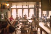 stock photo of department store  - People in Coffee shop blur background with bokeh lights - JPG