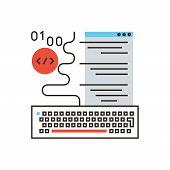 pic of binary code  - Thin line icon with flat design element of web programming software development program code decoding application website creation machine language - JPG