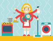 foto of homemaker  - Housewife symbol child and accessories icons on stylish background flat design concept template vector illustration - JPG