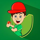 stock photo of cricket  - Cartoon of a boy with red cricket ball and winning shield on green background - JPG