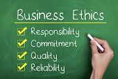 pic of responsible  - Business ethics responsibility commitment quality reliability words - JPG