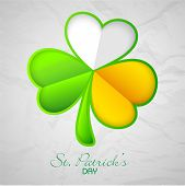 image of irish flag  - Glossy clover leaf in Irish Flag colors on grungy background for Happy St - JPG
