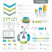 foto of pie chart  - Various business infographics elements including 3D pie chart - JPG
