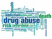 picture of overdose  - Drug abuse problem issues and concepts word cloud illustration - JPG