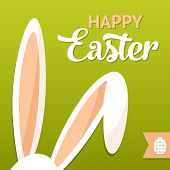 picture of ear  - Happy Easter card with rabbit ears - JPG
