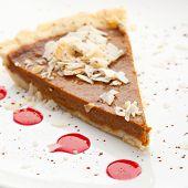 foto of pumpkin pie  - Fresh Pumpkin Pie with Berries Sauce - JPG