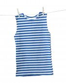picture of clotheslines  - Striped vest hanging on the clothesline - JPG