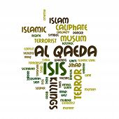 stock photo of extremist  - ISIS and Al Qaeda word cloud on white background - JPG