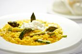 pic of spears  - Serving of tasty traditional Italian risotto with asparagus tips and spears and mozzarella cheese on a bed of savory rice - JPG