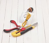stock photo of wire cutter  - repair of electrical installation in the house and wires - JPG