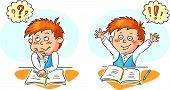 image of schoolboys  - Little schoolboy thinks and gets an idea - JPG