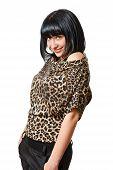 stock photo of flirtatious  - Portrait of a beautiful young woman flirtatious - JPG