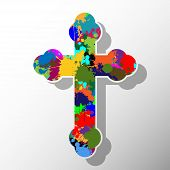 picture of humility  - An illustration of a colorful cross as a religious symbol on a white background - JPG