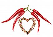 image of peppercorns  - Red hot pepper in pods and colorful mixture of peppercorns concept of love - JPG