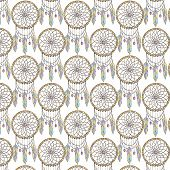 pic of dreamcatcher  - Seamless dreamcatcher indian amulet  pattern on white backgraund - JPG