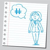 stock photo of hashtag  - Businesswoman speaking hashtag - JPG