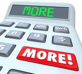 foto of accounting  - More word on a cacluator red button and digital display to add up additional savings - JPG