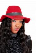 picture of woman red blouse  - A closeup picture of a lovely African American woman in a black blouse