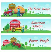 pic of truck farm  - Tractor driver banners horizontal set with farm house american ranch flat elements isolated vector illustration - JPG